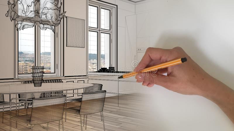 Architect interior designer concept: hand drawing a design interior project sketch while the space becomes real, modern kitchen vector illustration