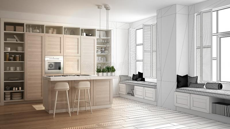Architect interior designer concept: unfinished project that becomes real, kitchen with wooden details in contemporary apartment. With parquet floor stock photos