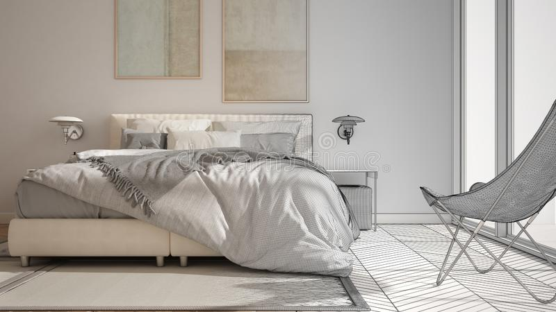 Architect interior designer concept: unfinished project that becomes real, minimalist bedroom, bed with pillows and blankets,. Parquet, bedside tables and vector illustration
