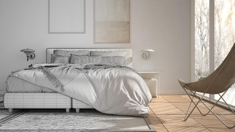 Architect interior designer concept: unfinished project that becomes real, minimalist bedroom, bed with pillows and blankets,. Parquet, bedside tables and royalty free illustration