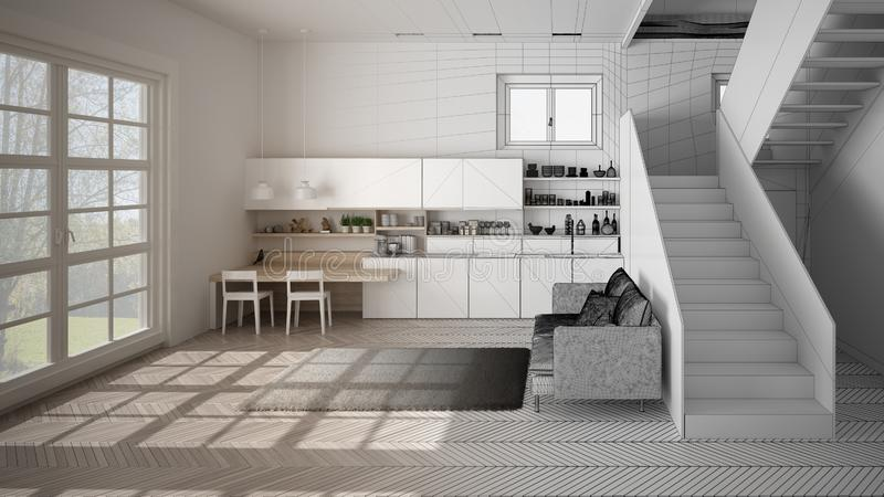 Architect interior designer concept: unfinished project that becomes real, minimalist modern kitchen in open space with staircase royalty free illustration