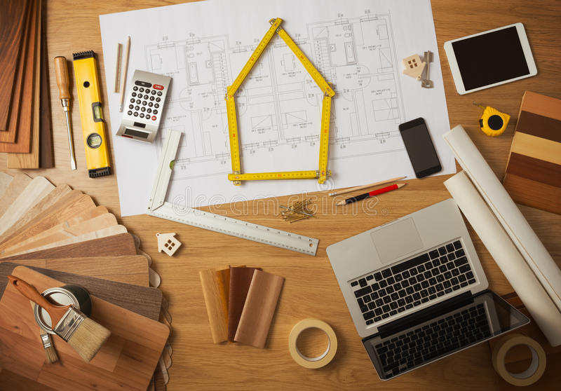 Architect And Interior Designer Work Table Stock Image - Image of ...