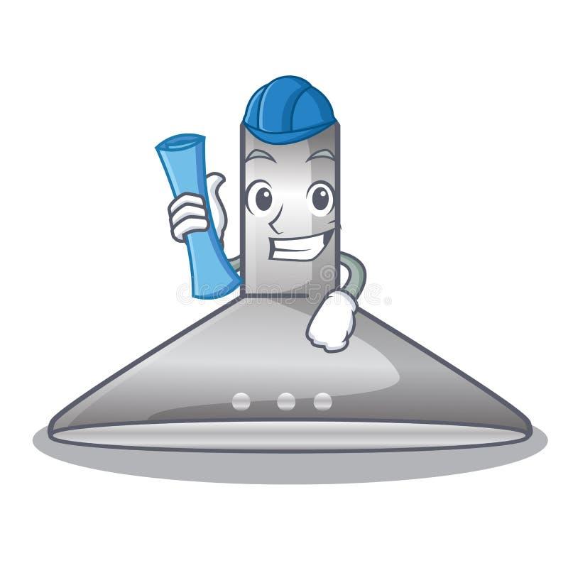Architect kichen hood in the mascot shape. Vector illustration royalty free illustration
