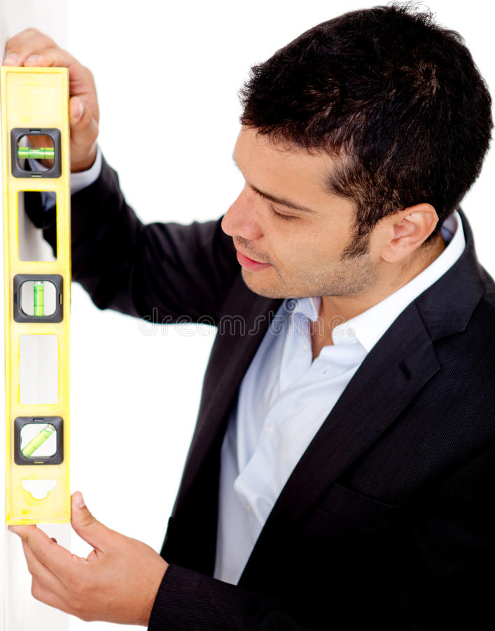 Download Architect With Level Instrument Stock Image - Image: 24772361