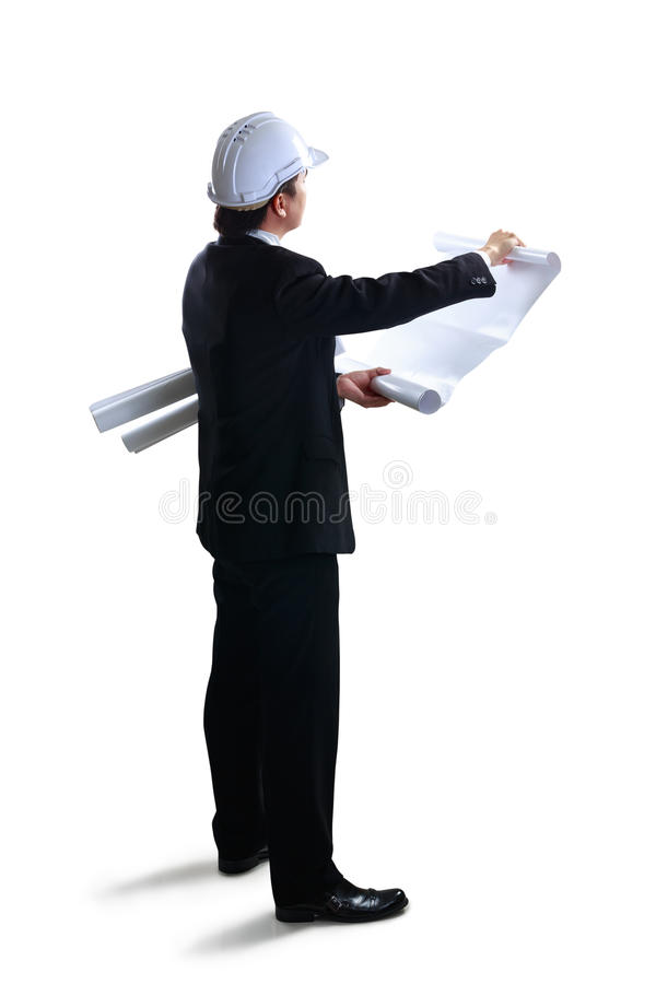 Architect looking at blueprints. Isolated over white with clipping path stock photo