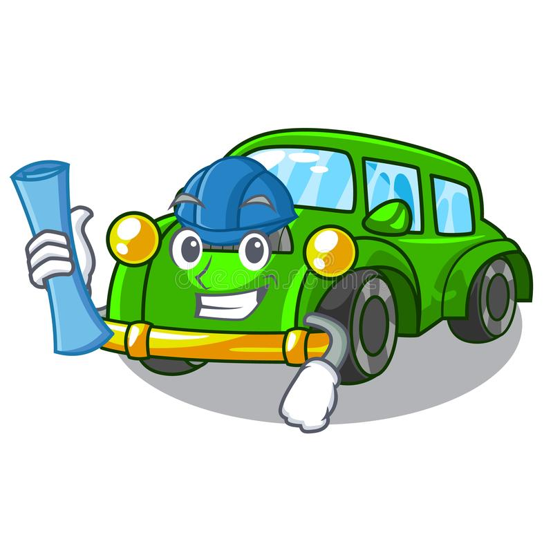 Architect miniature classic car in shape characters. Vector illustration vector illustration
