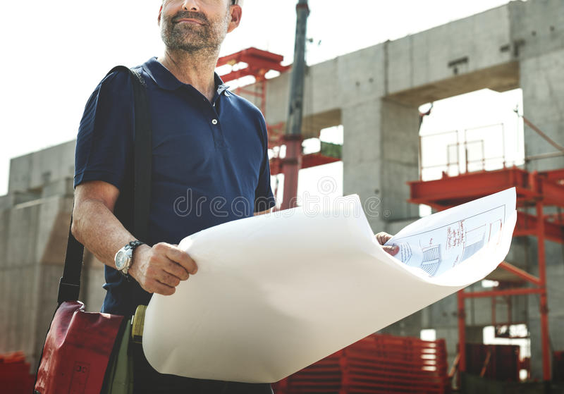 Architect Outdoors Working Construction Site Concept royalty free stock photo