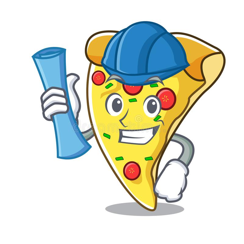 Architect pizza slice character cartoon. Vector illustration vector illustration
