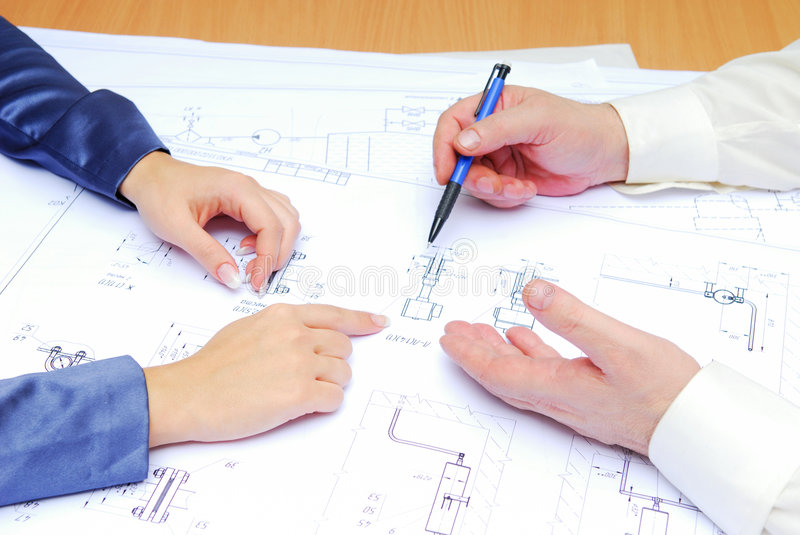 Architect plan. Professional occupation of architect with team