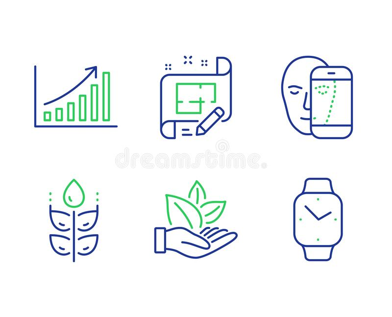 Architect plan, Organic product and Gluten free icons set. Face biometrics, Graph chart and Smartwatch signs. Vector. Architect plan, Organic product and Gluten stock illustration