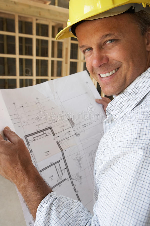 Download Architect With Plans stock image. Image of house, male - 16296007
