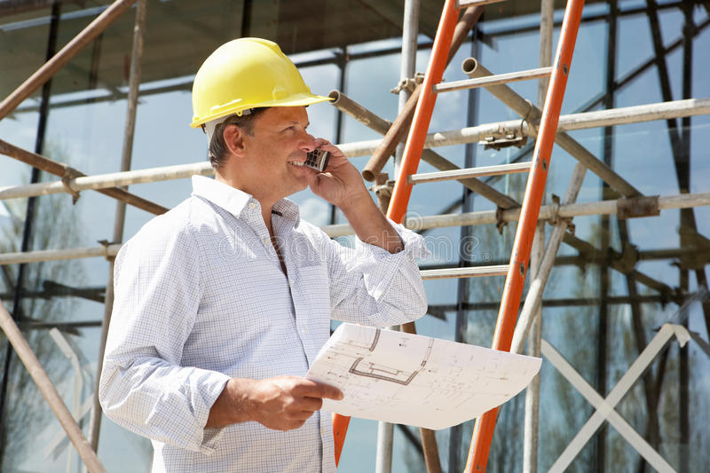 Download Architect With Plans Outside Stock Image - Image: 16296469