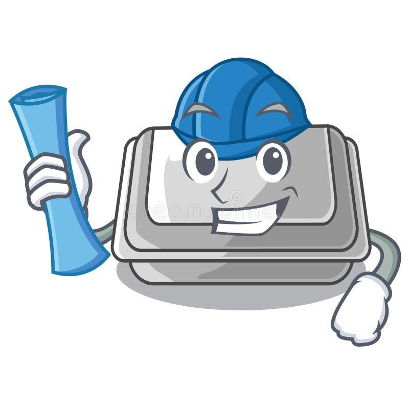 Architect plastic box in the mascot shape. Vector illustration stock illustration