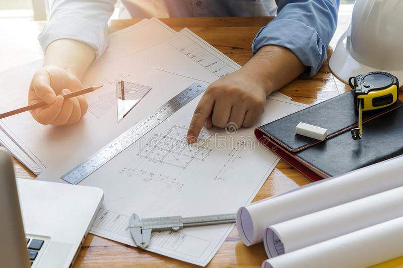 Architect point at blueprint stock photo image of paperwork download architect point at blueprint stock photo image of paperwork measurement 102226412 malvernweather Image collections