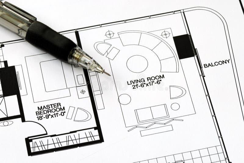 An architect prepares the floorplan stock photo