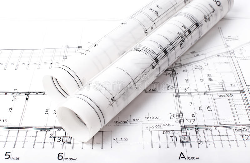 Architect project blueprint stock image image of designer floor architect project drawing blueprint on desk malvernweather Images