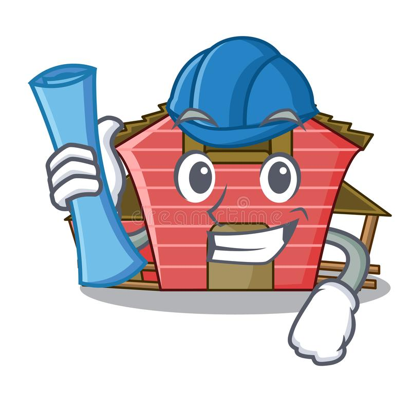 Architect a red barn house character cartoon. Vector illustration stock illustration