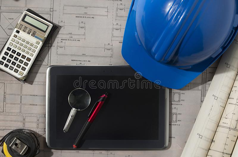 Architect revising sketch of architectural drawings stock images