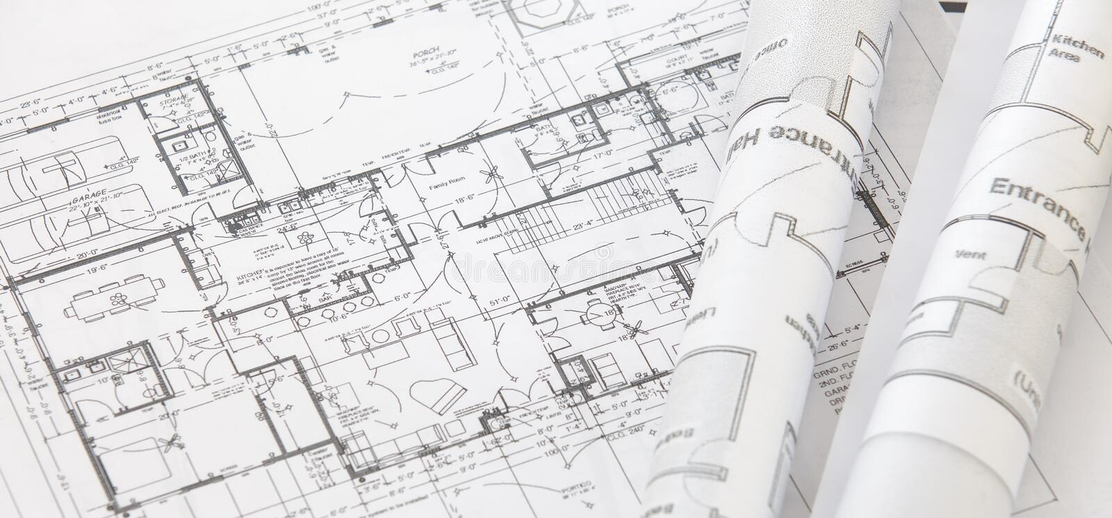 Architect rolls and plans royalty free stock images