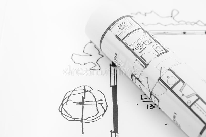 Architect rolls and plans. Architectural plan , Technical project drawing stock photography