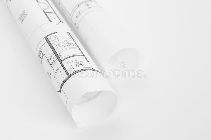Architect rolls and plans. Architectural plan , Technical project drawing royalty free stock photography