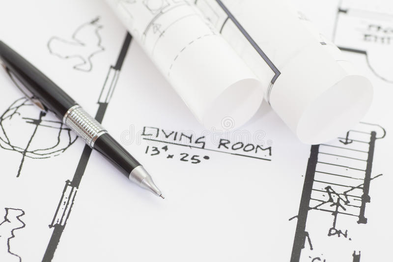 Architect rolls and plans. Architectural plan , Technical project drawing royalty free stock photos