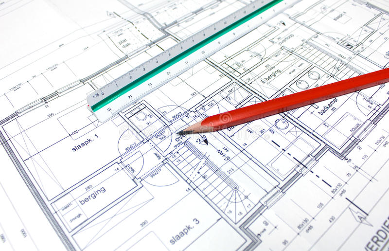 Download Architect's plan stock photo. Image of drawing, measurement - 14351642