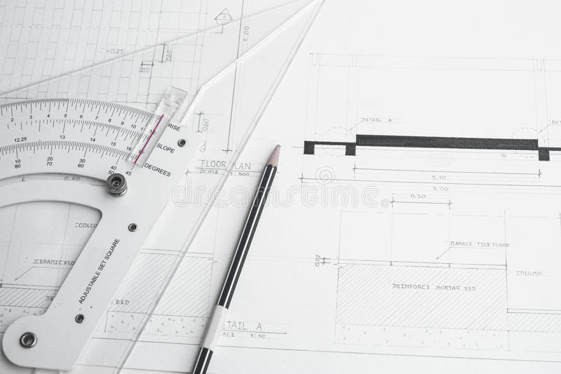 Architect's planning and equipment. Pencil and rulers royalty free stock photography