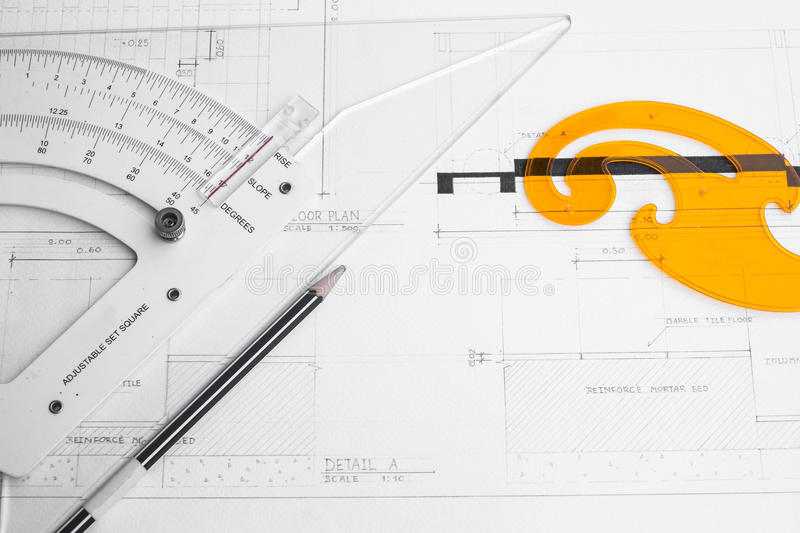Architect's planning and equipment. Pencil and rulers stock photography