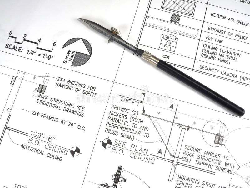 Download Architect's Tools And Plans Royalty Free Stock Photography - Image: 1401467