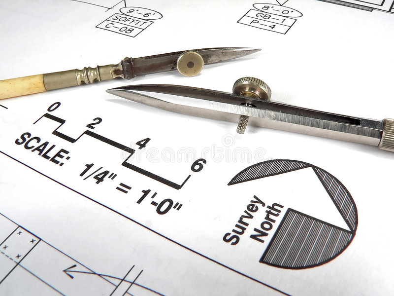 Download Architect's Tools And Plans Stock Photo - Image: 1401470