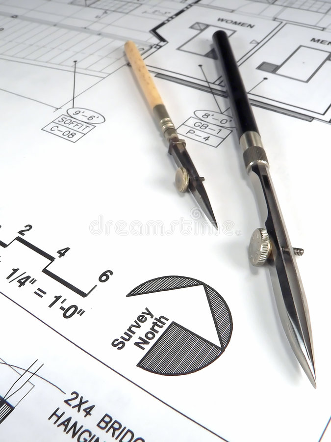 Download Architect's Tools And Plans Stock Photo - Image of desktop, architectural: 1401472