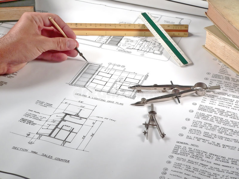 Architect S Workspace, Tools, And Blueprints Royalty Free Stock Images