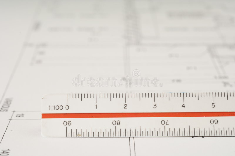 Architect scale and drawing royalty free stock images