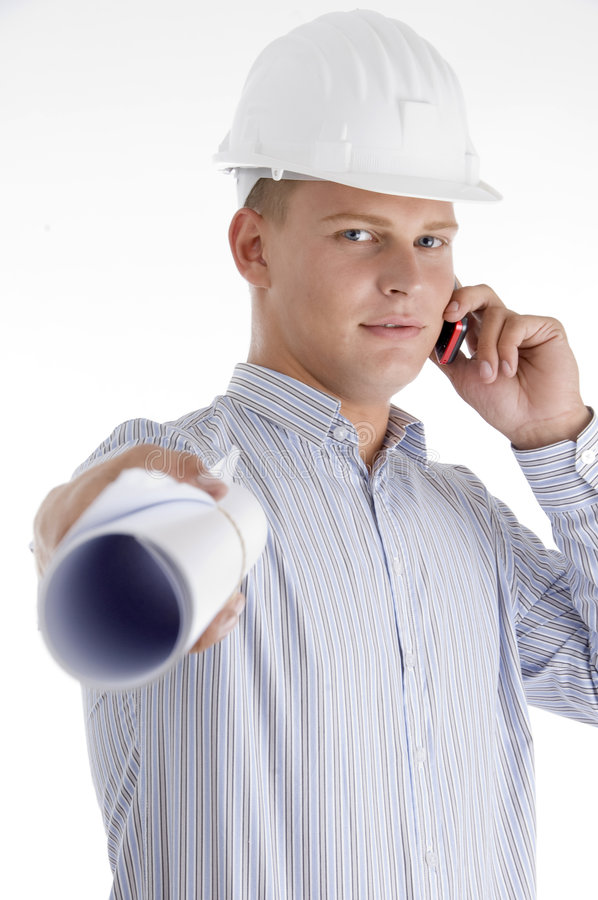 Architect showing blueprint and talking on mobile royalty free stock photo
