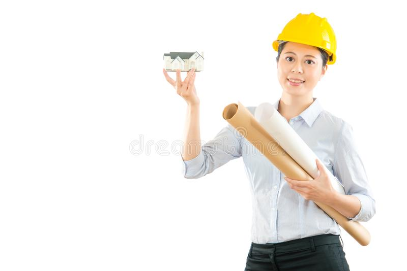 Architect showing 3d house model stock image