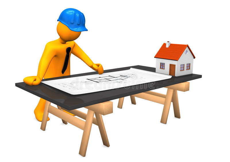 Architect Small House. Orange cartoon character with blue helmet and construction plan. White background royalty free illustration