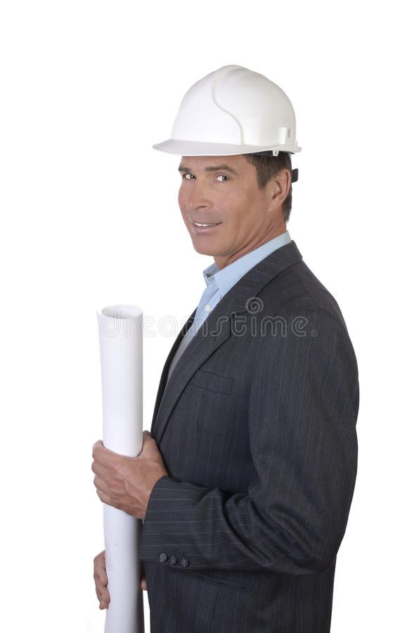 Download Architect Smiling With Blue Print Paper Roll Stock Photo - Image: 31659906