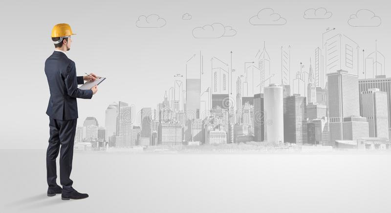 Architect standing and  replanning a city panorama. Young supervisor architect standing and replanning a big city panoraman royalty free illustration