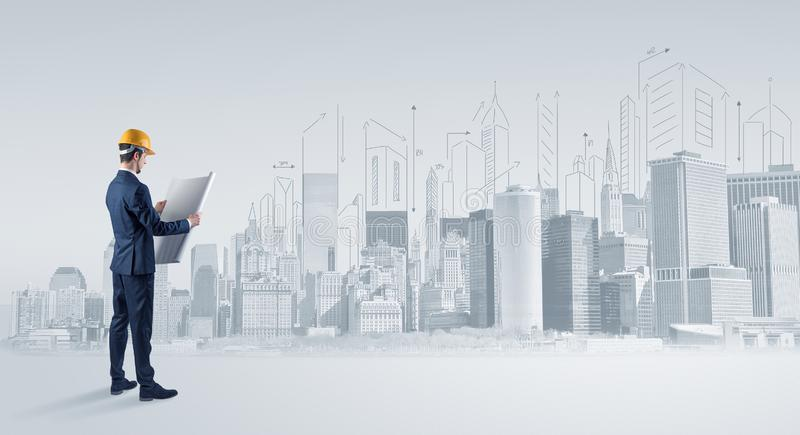 Architect standing and  replanning a city panorama. Young supervisor architect standing and replanning a big city panorama royalty free illustration