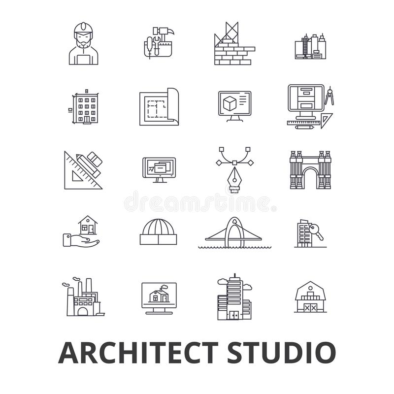Architect studio related icons royalty free illustration