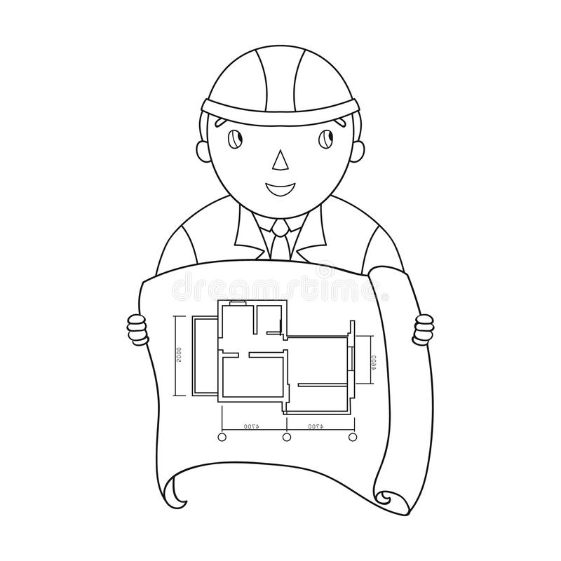 architect with technical drawing icon in outline style