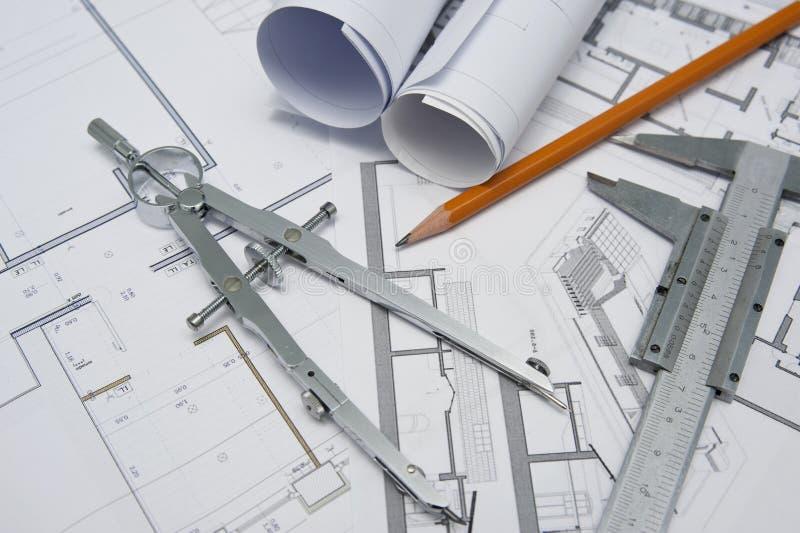 Architect tools royalty free stock photo