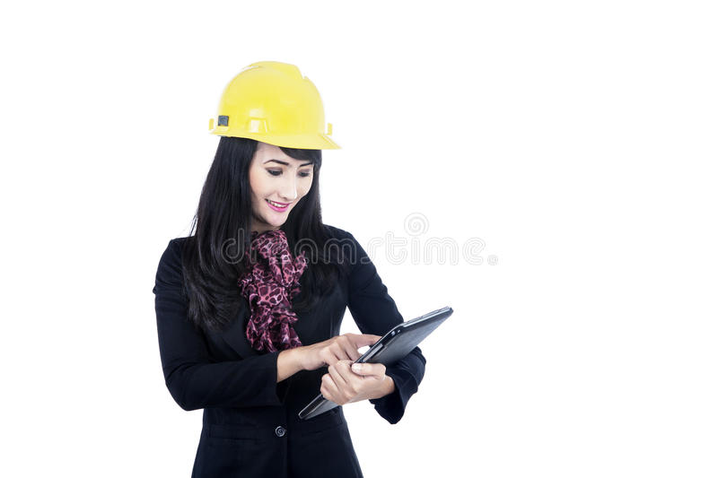 Download Architect Touching Tablet Isolated In White Stock Photo - Image: 27365810