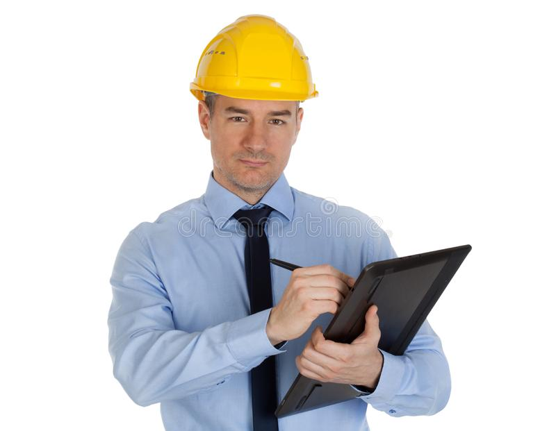 Architect using digital tablet. royalty free stock photography