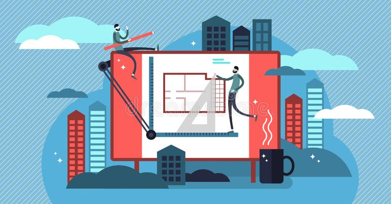 Architect vector illustration. Flat mini persons, engineers work concept. royalty free illustration