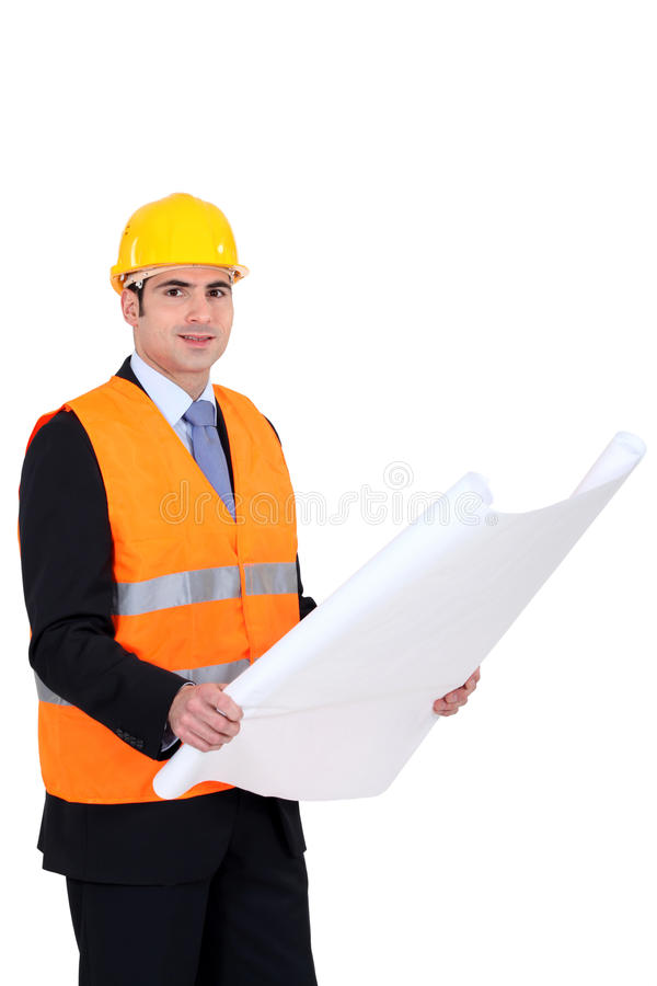 Architect Wearing Safety Jacket Royalty Free Stock Image