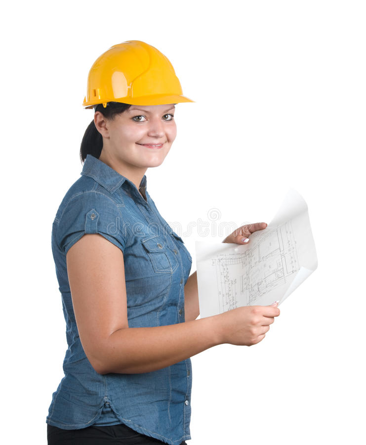 Download Architect Woman With Blueprint Stock Image - Image: 15277415
