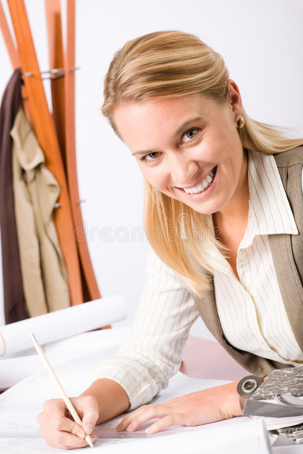 Architect Woman Sketches Office With Blueprint Stock Photography