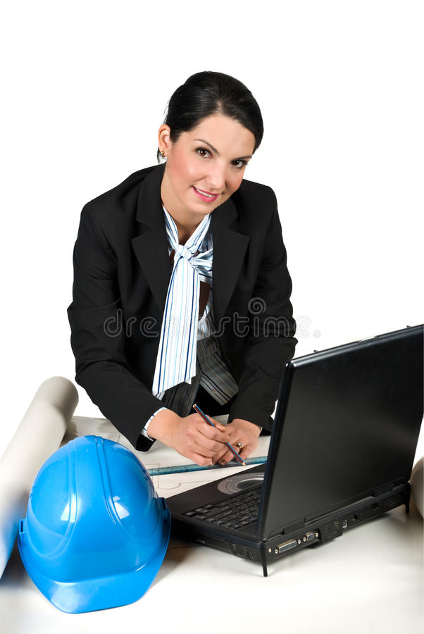 Download Architect Woman Working In Office Stock Photo - Image of drafting, designer: 9889660